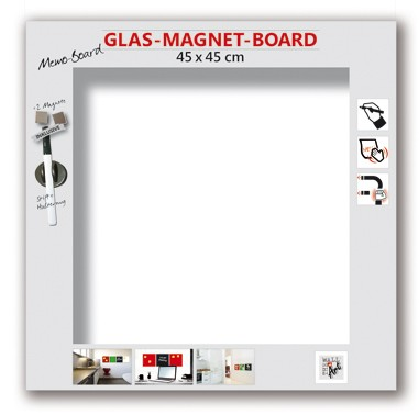 The Wall Glas- Magnetboard weiß 45 x 45 cm