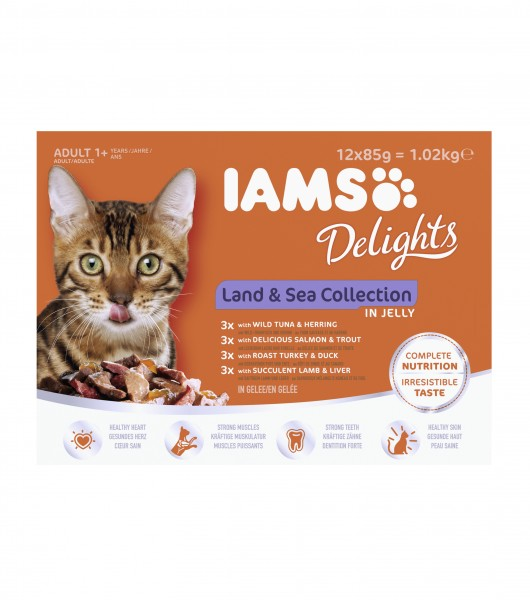 Iams Delights Katzennassfutter Land & See Collection in Gelee Inhalt: 12 x 85 g