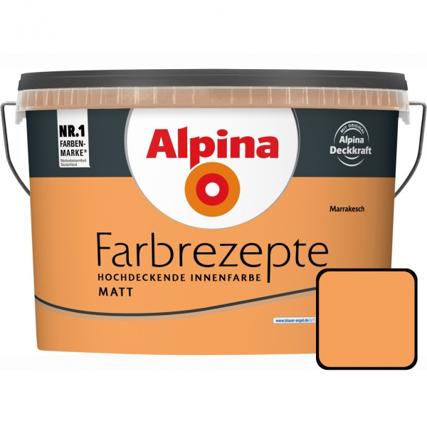 Alpina Farbrezepte Sattes lebendiges Orange 2,5 l Marrakesch Innenfarbe matt