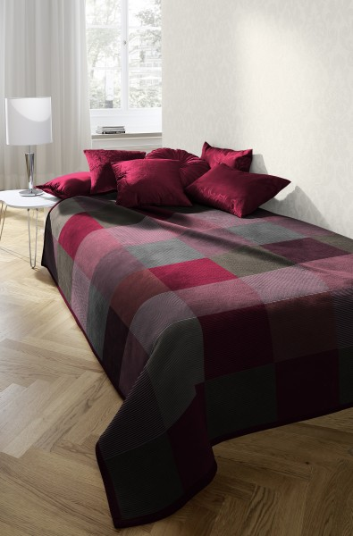 Biederlack Heim- und Schlafdecke Get Warm+Cosy Tweed Check red 140 x 190 cm