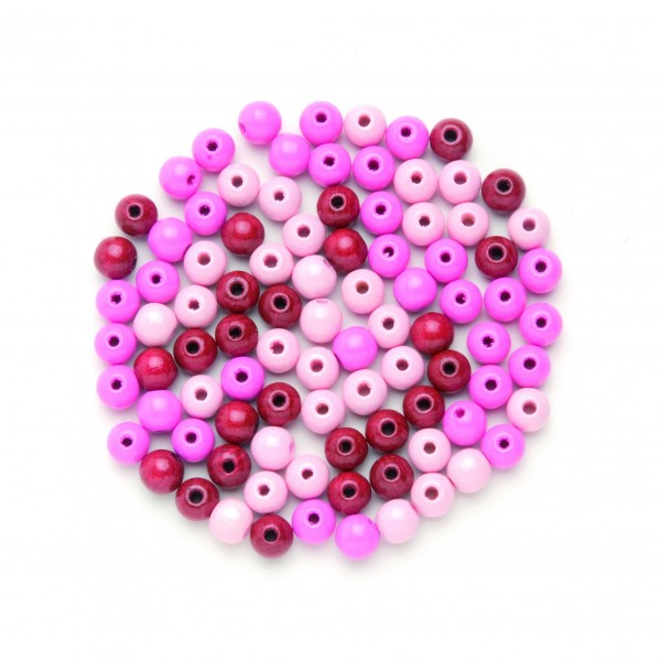 Glorex Holzperle rosa-mix 12 mm