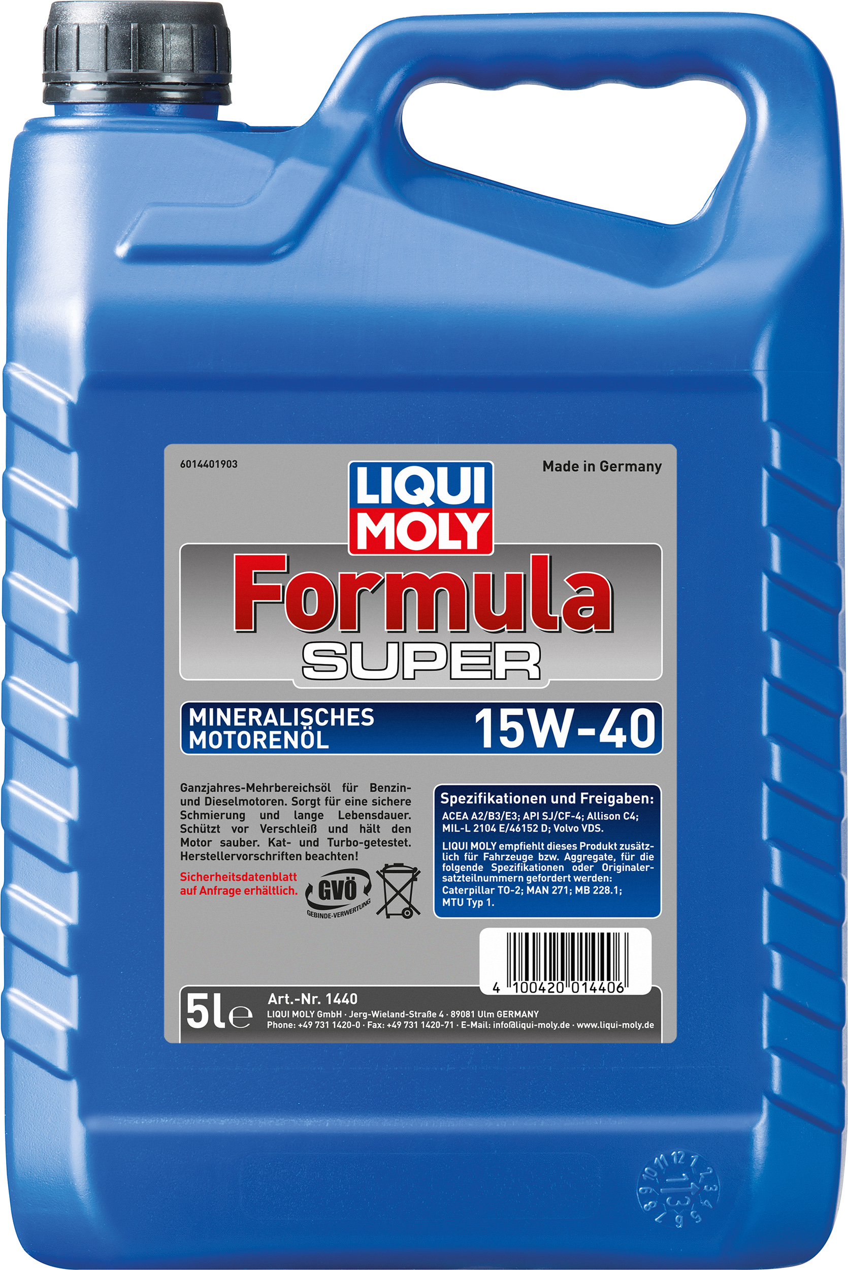 liqui moly motor l formula super 15w 40 motor le globus baumarkt online shop. Black Bedroom Furniture Sets. Home Design Ideas
