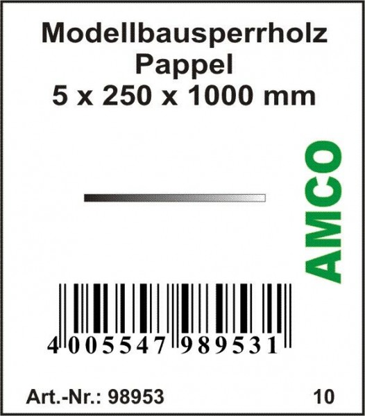 Amco Modellbausperrholz Pappel 1000 x 250 x 5 mm