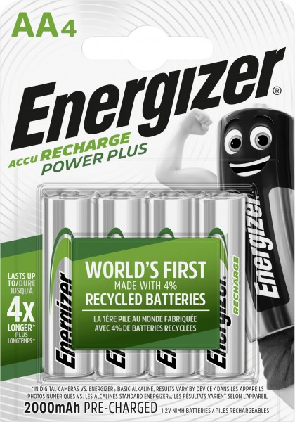 Energizer NiMH Akku Power Plus Mignon AA 2.000 mAh 4er Pack
