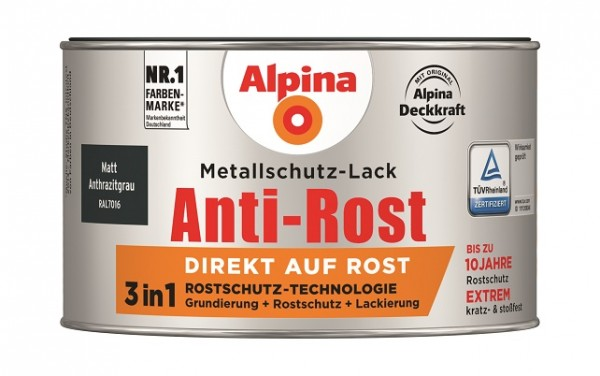 Alpina Metallschutz-Lack Anti-Rost 300 ml anthrazit matt