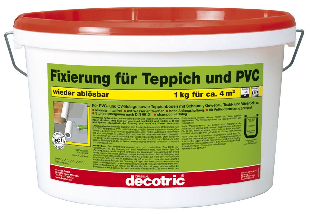 decotric fixierung f r teppich und pvc teppich pvc kleber globus baumarkt online shop. Black Bedroom Furniture Sets. Home Design Ideas