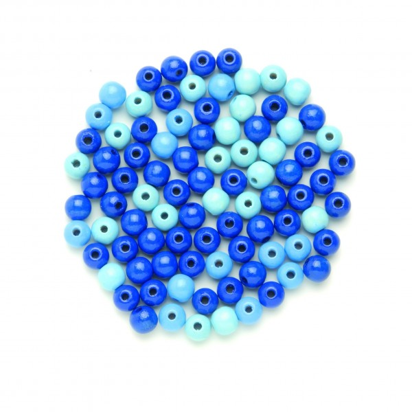 Glorex Holzperle blau-mix 15 mm