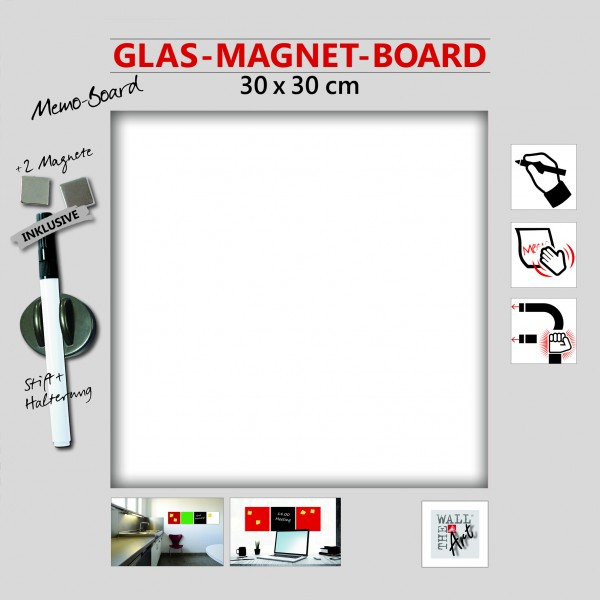 The Wall Glas- Magnetboard weiß 30 x 30 cm
