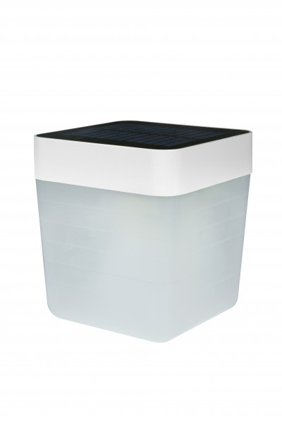 Lutec LED Solar Tischlampe Table Cube weiß