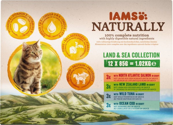 Iams Naturally Katzennassfutter Land & See Multibox 12 x 85 g