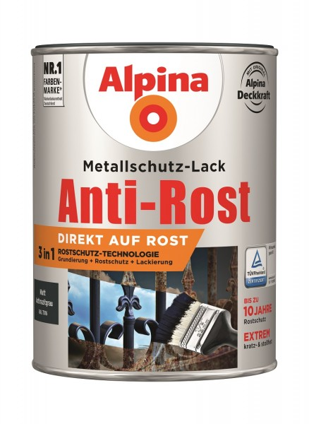 Alpina Metallschutz-Lack Anti-Rost 2,5 l anthrazit matt
