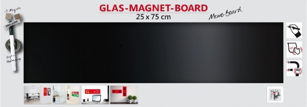 The Wall Glas- Magnetboard schwarz 75 x 25 cm