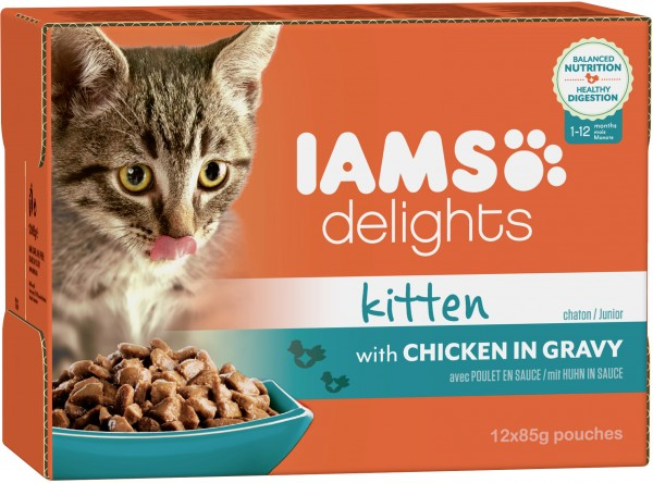 Iams Delights Katzennassfutter Kitten Huhn in Sauce 12 x 85 g