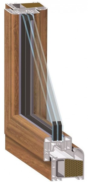 Meeth Fenster golden Oak/G-O 1200 x 1300 mm DIN rechts System 70/3S Euronorm 1-flg Dreh-Kipp