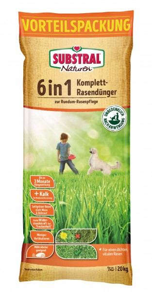 Substral Naturen 6 in 1 Komplett-Rasendünger f. 266 m² 20 kg