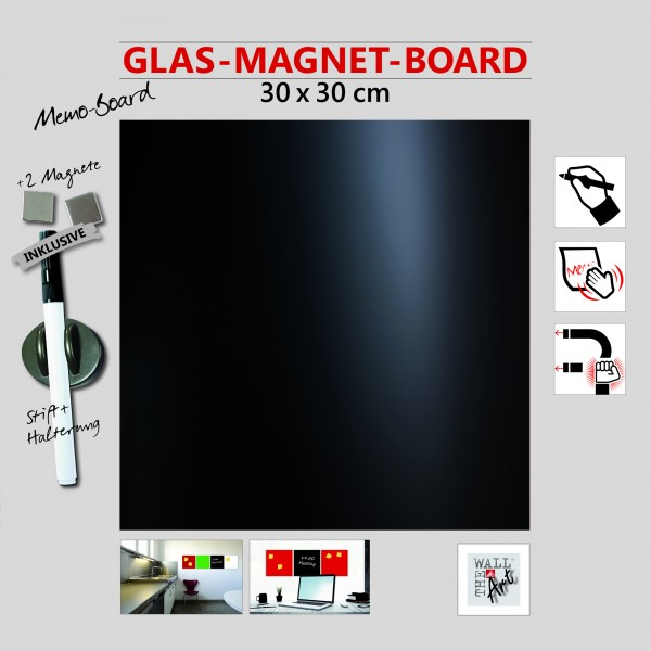 The Wall Glas- Magnetboard schwarz 30 x 30 cm