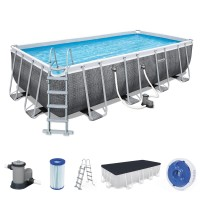 Bestway Power Steel Frame Pool Komplett-Set, eckig,