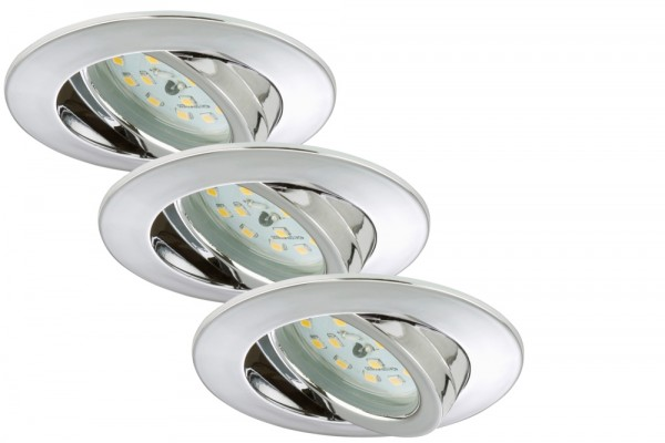 Briloner LED Einbauleuchten Attach chrom 3er Set