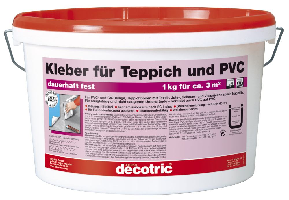 decotric kleber f r teppich und pvc teppich pvc kleber globus baumarkt online shop. Black Bedroom Furniture Sets. Home Design Ideas