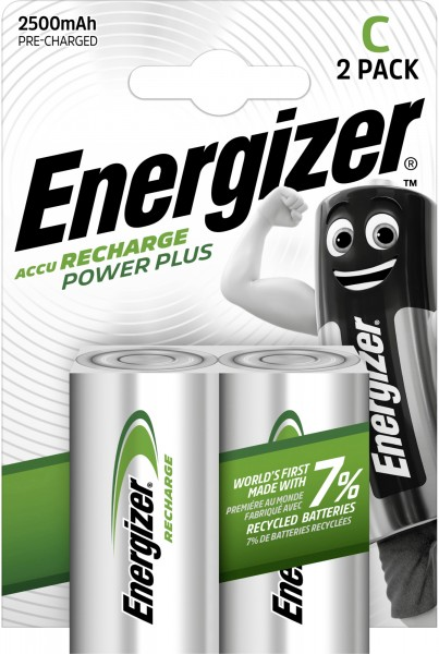Energizer NiMH Akku Power Plus Baby C 2.500 mAh 2er Pack