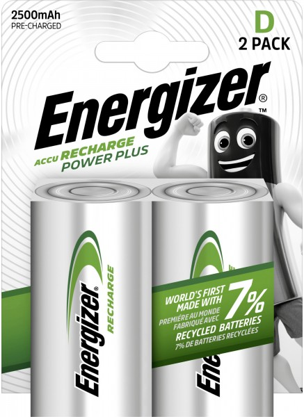 Energizer NiMH Akku Power Plus Mono D 2.500 mAh 2er Pack
