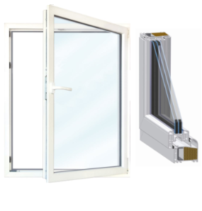 Meeth Fenster DIN links 1000 x 750 mm 1-flg ... System 70//3S Euronorm weiß