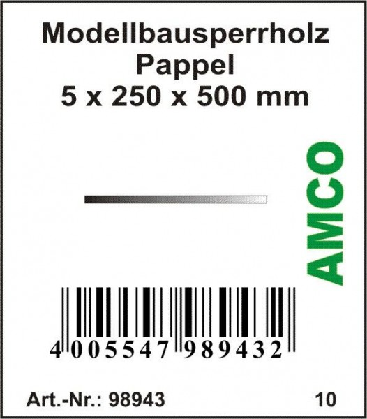 Amco Modellbausperrholz Pappel 500 x 250 x 5 mm
