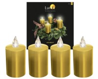 Krinner Lumix LED-Adventskerzen Set, gold