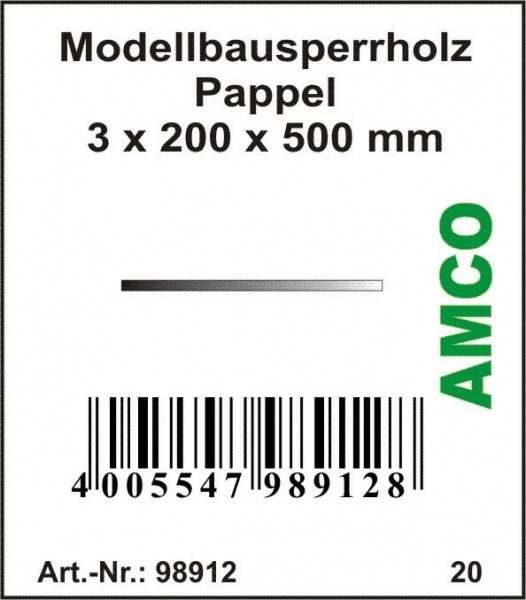 Amco Modellbausperrholz Pappel 500 x 200 x 3 mm