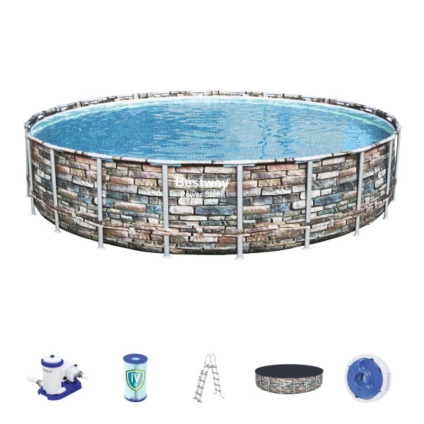 Bestway Power Steel Frame Pool Komplett-Set rund Ø 671 x 132 cm inkl. Filterpumpe