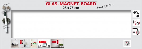 The Wall Glas- Magnetboard weiß 75 x 25 cm