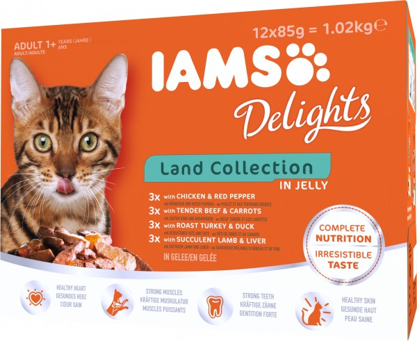 Iams Delights Katzennassfutter Land Collection in Gelee Inhalt: 12 x 85 g