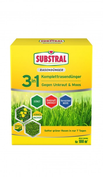 Substral 3 in 1 Komplettrasendünger für 100 m² 3,6 kg