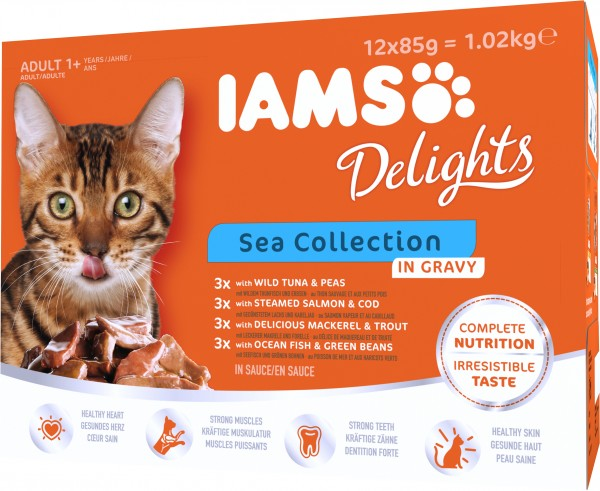 Iams Delights Katzennassfutter See Collection in Sauce Inhalt: 12 x 85 g