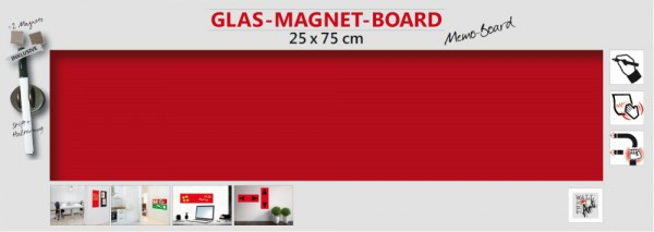The Wall Glas- Magnetboard bordeaux 75 x 25 cm